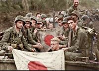 US Marines With Captured Japanese Flag New Guinea Colorized WWII WW2 4x6 1019