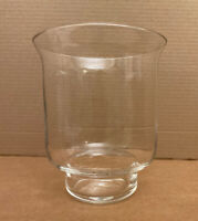 "VINTAGE Clear Crystal Glass Pedestal Vase, Blown w/ Bubbles, Heavy 7"" Tall"