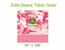 """John Deere Table Cover, Pink Camo Plastic 54""""x108"""", Birthday Party, Baby Shower"""