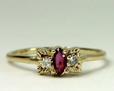 Natural Diamond & Marquise Amethyst 14k Yellow Gold Band Ring Size 6