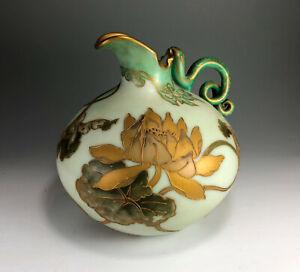 Signed Mt Washington Crown Milano Lotus Vase Serpent Handle