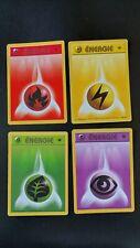 Edition 1 FR - Lot 4 cartes Pokemon énergie - 1999 Wizards - TB État