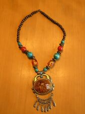 "Large Pendant 22"" Length Vintage Tribal Style Necklace"