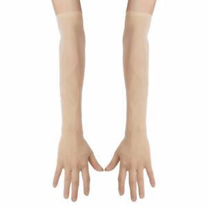 Women Sheer Mesh Full Finger Long Gloves Arm Opera Wedding Party Sun Protection