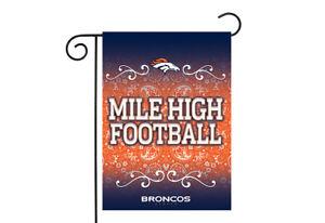 Denver Broncos 13x18 Premium Stitched 2-Sided Outdoor Garden Flag Banner NWT