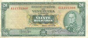 Venezuela  20  Bolívares  1.29.1974   Series A  Circulated Banknote L19