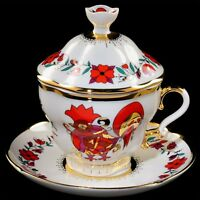 Cup with saucer and lid tea, Lomonosov Porcelain, Souvenir, IFZ, Russia