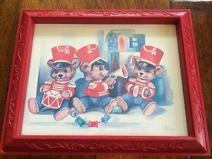 "C Hansen Bear Print Picture with Red Frame  13""x10.5"" Nursery Decor Boy Girl,"