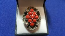 Silver 925 Coral & Marcasite Ladies Big Ring