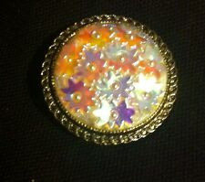 WESTERN GERMANY - Iridescent Floral - SCARF BROOCH CLIP - (D6)