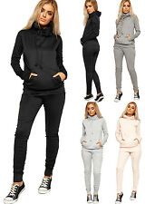 Womens Hoodie Roll Neck Tracksuit Set Ladies Sweatshirt Top Jogging Bottoms 6-14