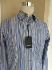 ** BNWT Paul Smith Blue Multi Stripe Cotton Gents Formal Shirt size 15 - Reduced
