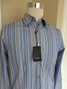 BNWT Paul Smith Blue Multi Stripe Cotton Gents Formal Shirt size 15