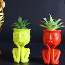Resin Succulent Pot Creative Head Face Flower Plant Vase Home Garden Decor