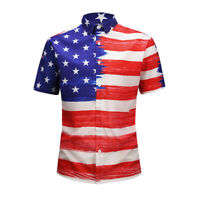 Mens USA American Flag Stripes And Stars Printed Short Sleeve Casual Shirt Tops