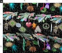 Grass Christmas Ornaments Weed Marijuana Cannabis Spoonflower Fabric by the Yard