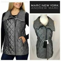 MARC NEW YORK Andrew Marc Womens Quilted Vest Size Small Pewter Gray NWT