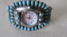 NATIVE AMERICAN ZUNI WOMENS TURQUOISE PETIT POINT CUFF BRACELET WATCH INITIALGM