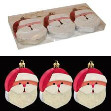 Christmas 3 Pack 8cm Santa Face Hanging Tree Decorations