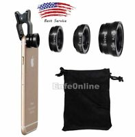 For Smart Cell Phone Black 3 in1 Fish Eye+ Wide Angle+ Macro Camera Clip-on Lens
