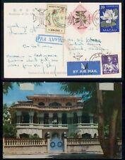 Macau 1960 Multifranked Airmail Postcard to Us zeeland Michigan wwi14873