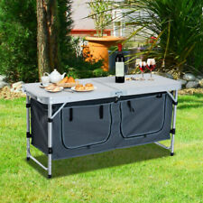 Outsunny Outdoor Adjustable Aluminum Picnic Folding Table