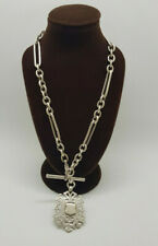 BEAUTIFUL ANTIQUE SOLID SILVER ALBERT POCKET WATCH CHAIN WITH FOB&T-BAR 48.8 G.