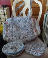 Vera bradley medium duffel, large and round cosmetics in retired Delft Blue