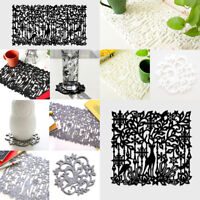 yazi Deer Floral Hollow Felt Placemats Heat Insulation Table Pads Cup Coasters