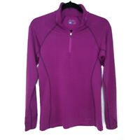 Eddie Bauer First Ascent Womans Size Small Purple/Black Striped 3/4 zip pullover