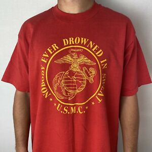 VINTAGE 90'S USMC NOBODY EVER DROWNED IN SWEAT T SHIRT L/XL US MARINES Made USA