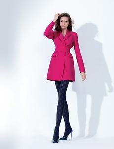 Black Women Hosiery Autumn Pinecones Patterned Warm Fashion Winter Tights T180B