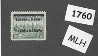 #1760  MLH 1939 Overprint stamp 50 Hal BaM Protectorate / Third Reich occupation