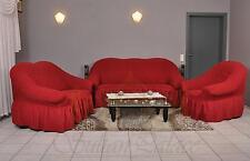 Sofabezug 3er+2er+1er Sofa Bezug Husse Überwurf Spannbezug weinrot bordeaux bord