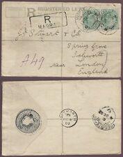 INDIA 1902 MADRAS QV REGISTERED STATIONERY..to Isleworth +KE7th