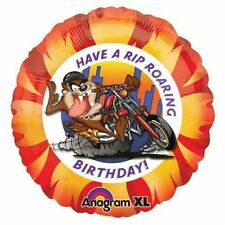 """Taz Have a Rip Roaring Birthday 18"""" Balloon motorcycle chopper party foil mylar"""