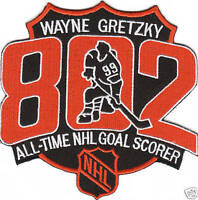 LA KINGS WAYNE GRETZKY 802 GOAL RECORD PATCH LOS ANGELES KINGS EDMONTON OILERS