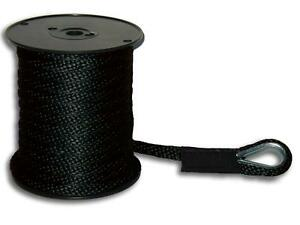 "1/2"" x 200' Solid Braid Anchor Line - Black - Made in USA"