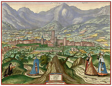 Fondi Lazio Latina Italy bird's-eye view map Hogenberg ca.1598