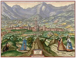 Fondi Lazio Latina Italy bird's-eye view map Hogenberg ca.1598