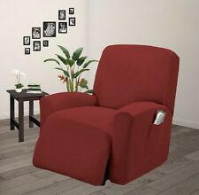 Pique Stretch Fit Furniture Chair Recliner Lazy Boy Cover Slipcover - Burgundy