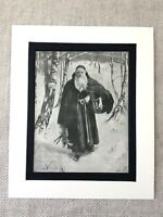 1900 Antique Christmas Print Old Man Painting Father Xmas Santa