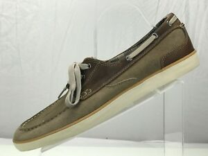 Clarks Boat Shoes Suede Casual Deck - Moc Toe Taupe Brown Two Tone Mens 13 M