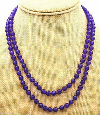 """Women's Natural 8mm Purple Amethyst Round Beads Necklace 36"""" Long AAA"""