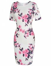 """DELILAH"" STUNNING LADIES PINK WHITE FLORAL PRINT SIZE 12-14 STRETCH DRESS"