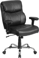 HERCULES 400 lb. Capacity Big & Tall Black Leather Task Chair with Height Arms