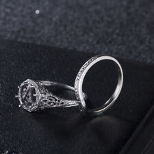 8mm Round Eternity Engagement Wave Style Sets Ring 10K White Gold Match Band