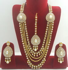 WHITE PEARL GOLD TONE INDIAN BOLLYWOOD RANI HAAR NECKLACE SET ETHNIC JEWELRY