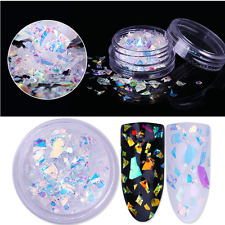 Fluorescent Nail Flakes Glass Paper Irregular Silver Glitter Sequins 3D Decor