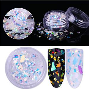 Fluorescent Nail Flakes Glass Paper Irregular Paillette Silver Glitter Sequins